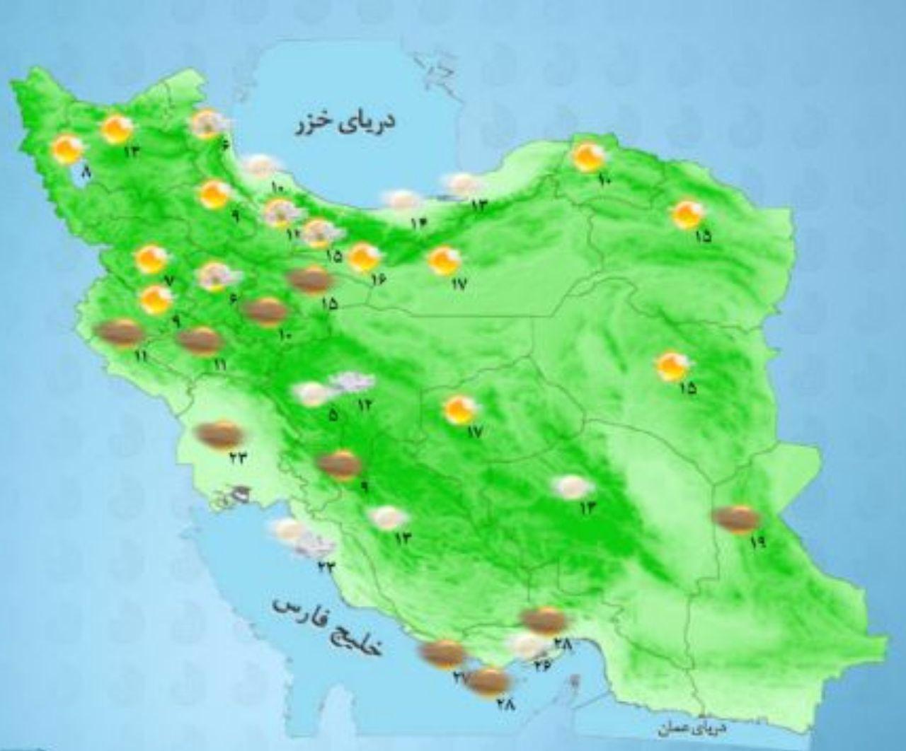 www.dustaan.com پنجشنبه 6 اردیبهشت / دمای مراکز استان های کشور +نقشه