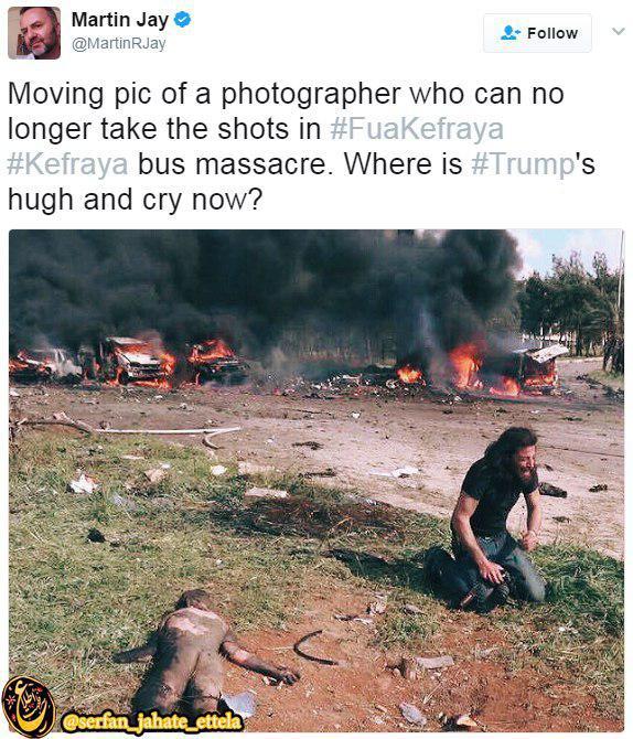 عکاسی که دیگر نمی تواند از کشتار مردم فوعه و کفریا عکس بگیرد.