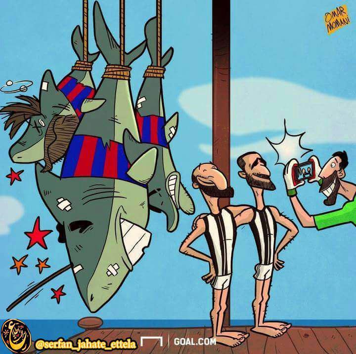 کاریکاتور: یوونتوس با شکار کوسه ها به نیمه نهایی لیگ قهرمانان اروپا رسید