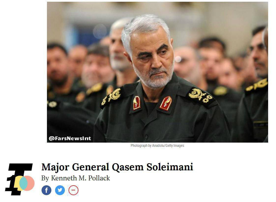نشریه تایم سردار «قاسم سلیمانی» را یکی از ۱۰۰ شخصیت پرنفوذ جهان در سال ۲۰۱۷ معرفی کرد.
