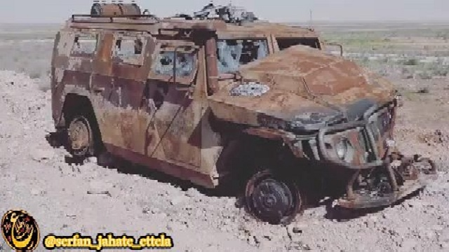 تصویر: خودروی زرهی ساخت روسیه متعلق به نیروهای ببر سوریه که در شرق حلب توسط داعش منهدم شده
