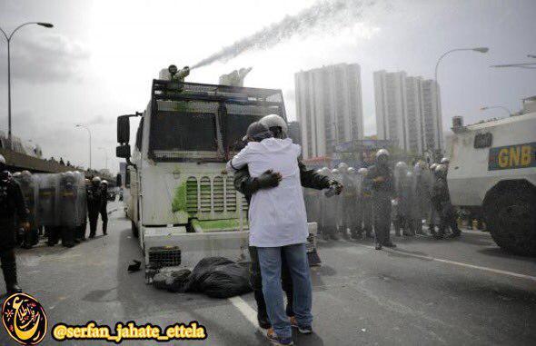 در جريان تظاهرات كاركنان بخش بهداشت و سلامت ونزوئلا عليه دولت اين كشور