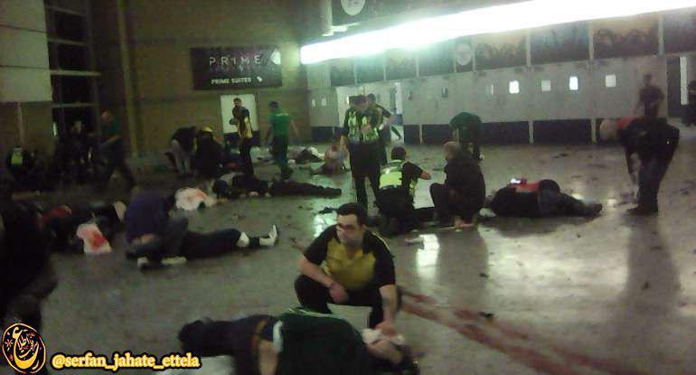 تصویری که گفته میشود مربوط به لحظاتی پس از انفجار بامداد امروز در سالن «منچستر آرنا» است