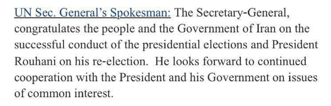 سخنگوى سازمان ملل ، برگزارى انتخابات ايران را به مردم و روحانى تبريك گفت