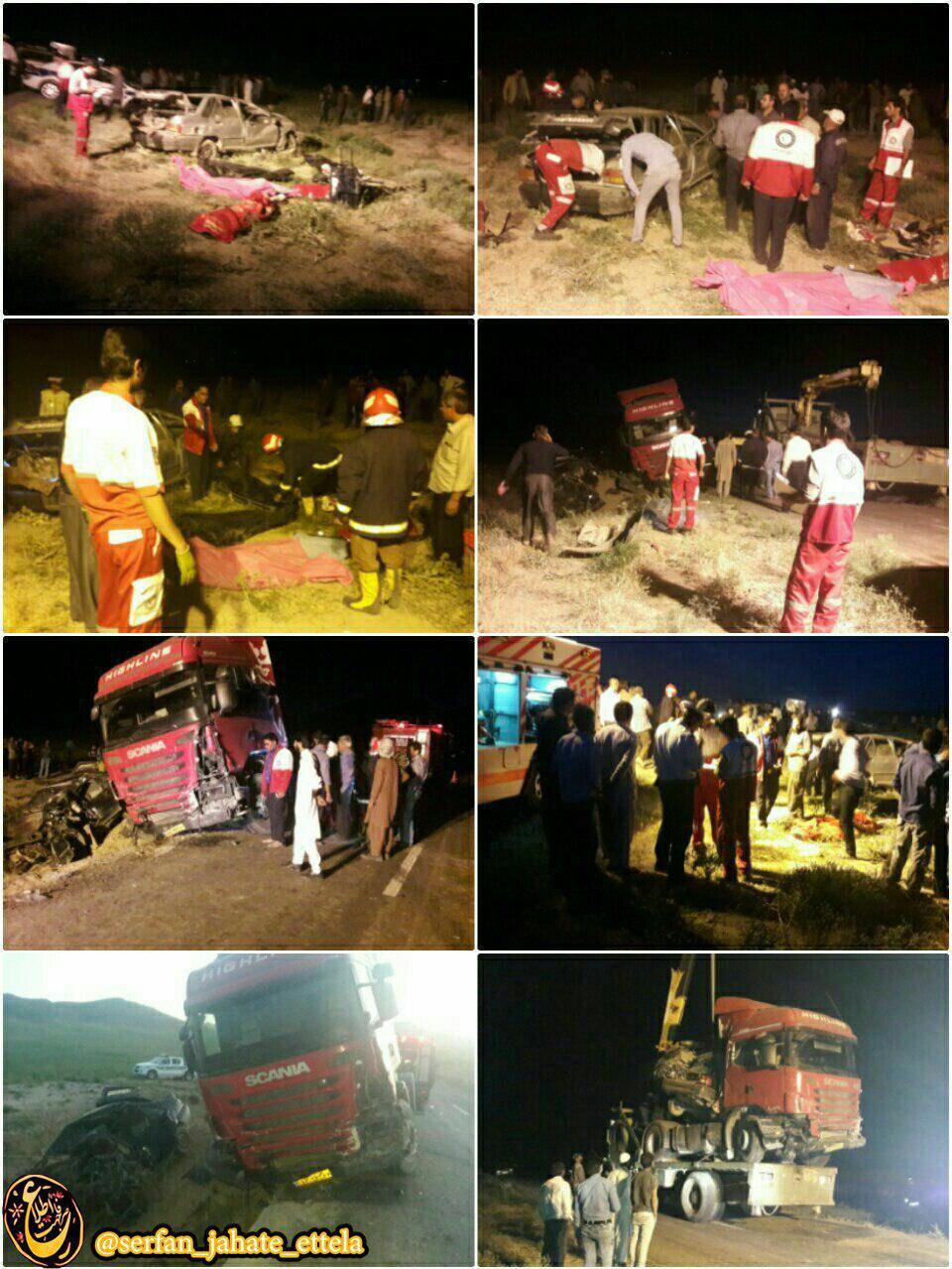 برخورد یک دستگاه تریلی با ۲دستگاه خودرو پراید در جاده روستایی کرات – کوه آباد شهرستان تایباد