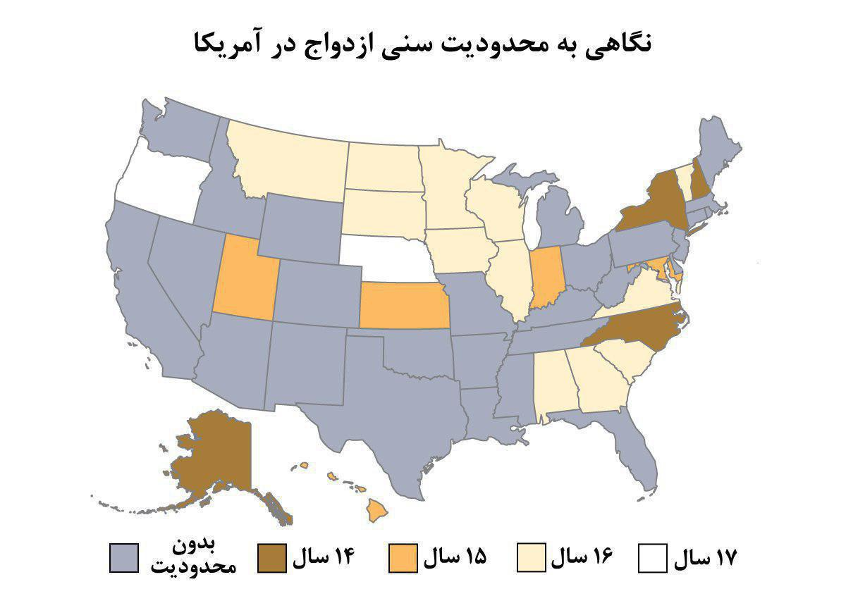بسیاری از ایالت های آمریکا محدودیتی برای ازدواج کودکان ندارد