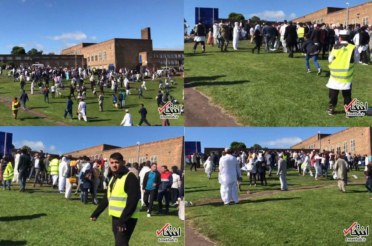 ورود یک خودرو به میان گروهی از مسلمانان که در انگلیس مشغول برگزاری جشن عید فطر بودند