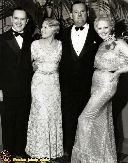 لورل و هاردی در کنار همسرانشان جالب است بدانید آنها باجناق بودند