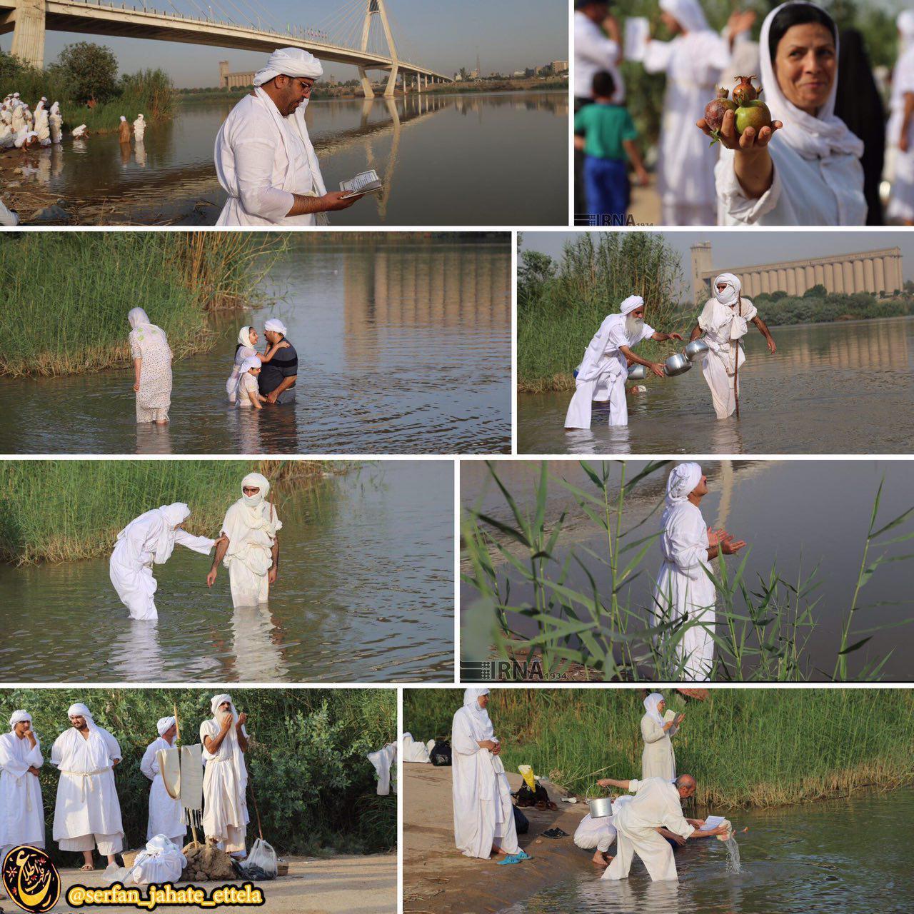 مراسم تعمید اقلیت صابئین مندایی صبح دوشنبه در ساحل رودخانه کارون به مناسبت عید بزرگ صابئین مندایی (دهواربا) و آغاز سال مندایی برگزار شد