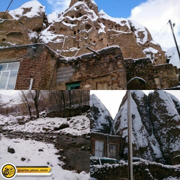 برف پاییزی روستای تاریخی کندوان