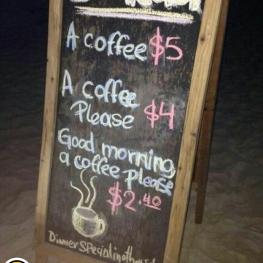 یک قهوه : ۵ دلار