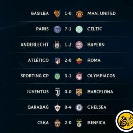 نتایج بازی های چهارشنبه شب لیگ قهرمانان اروپا