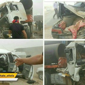 حادثه تصادف زنجیره ای اهواز به رامشیر