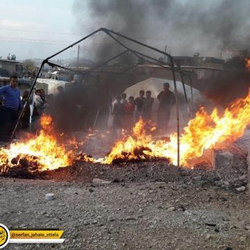 آتش گرفتن چادر زلزلهزدگان در ثلاث باباجانی به خاطر عدم رعایت ایمنی