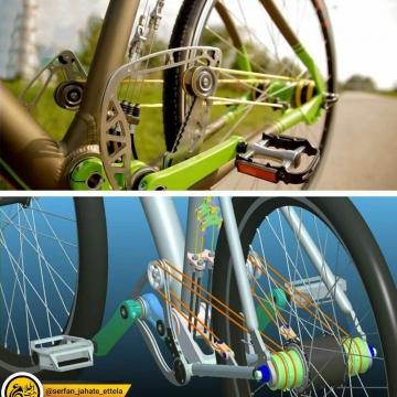 دوچرخه منحصربه فردی که فاقد زنجیر استفاده از نوارهای رشتهای است