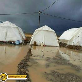 وضعیت چادر های زلزله زدگان در بارش شدید باران در کرمانشاه