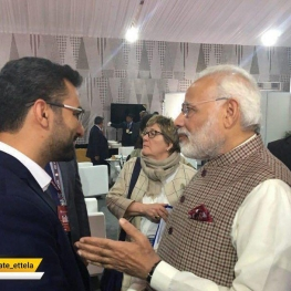 محمد جواد آذری جهرمی  در حاشیه اجلاس جهانی فضای مجازی با نارندرا مودی نخست وزیر هند دیدار کرد