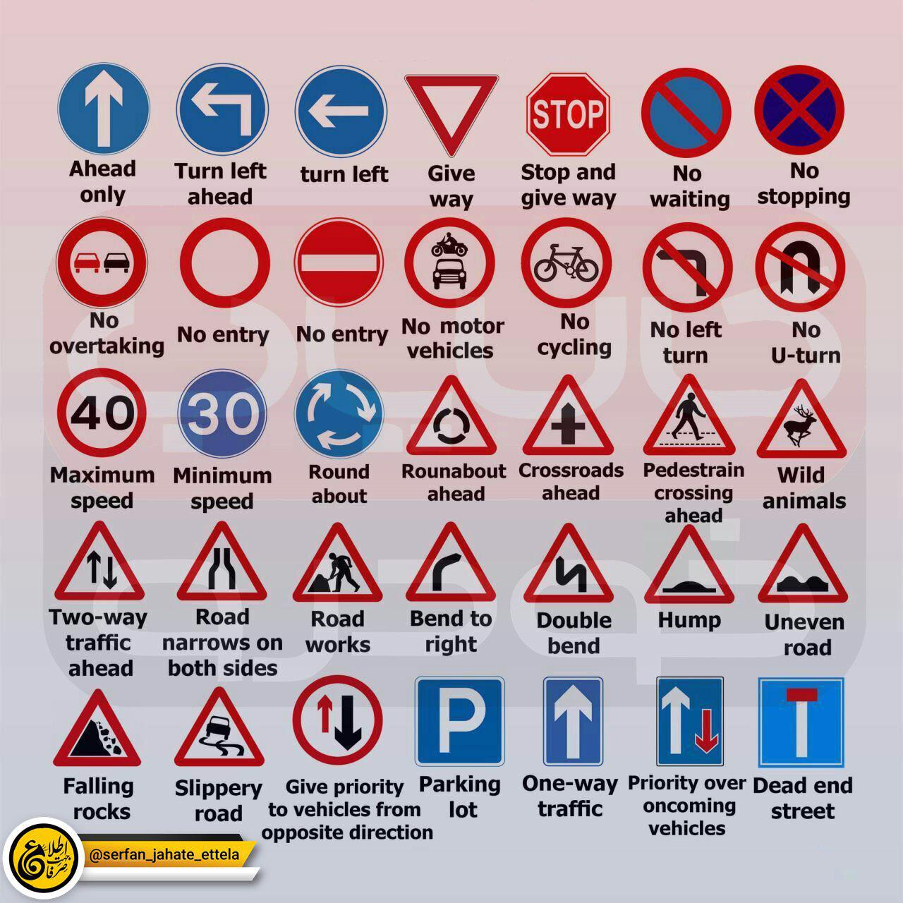 علائم راهنمایی و رانندگی به انگلیسی چی میشه؟