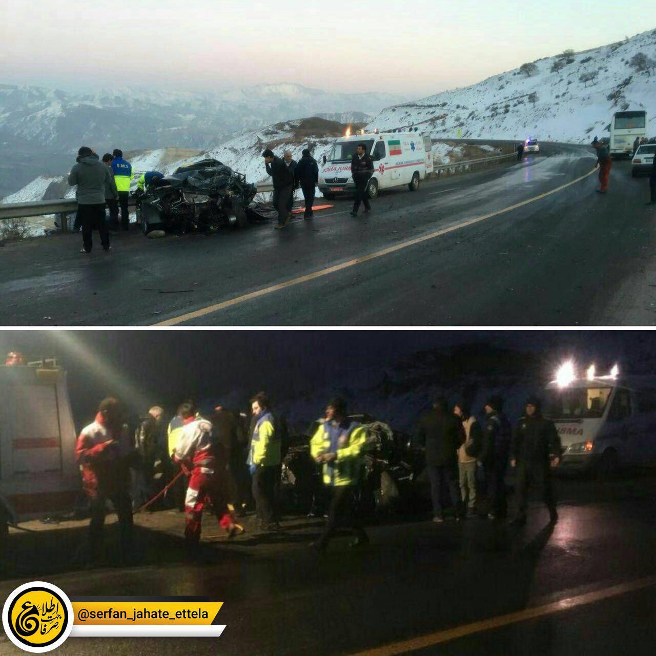 تصاویری از تصادف خودروی حامل صادق حضرتی