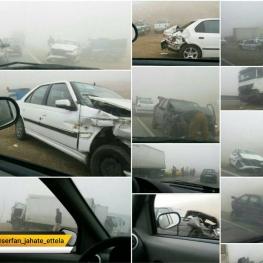 تصادف زنجیره ای نزدیک به ۴۰ خودرو در محور ارومیه – مهاباد