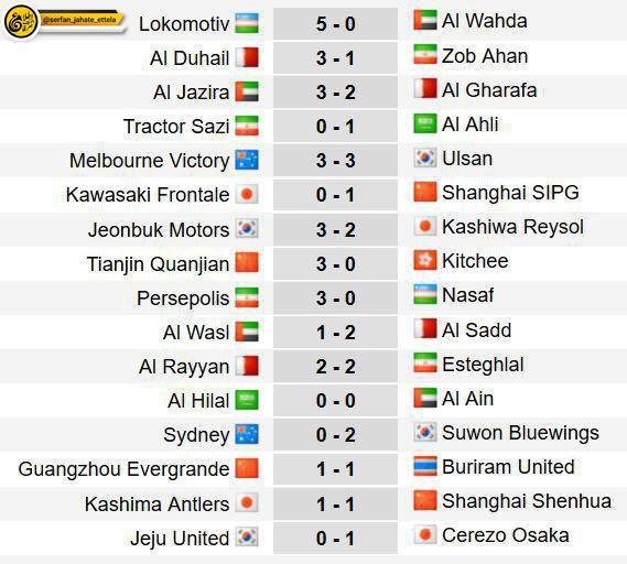 نتایج کامل هفته اول لیگ قهرانان آسیا  ۲۰۱۸