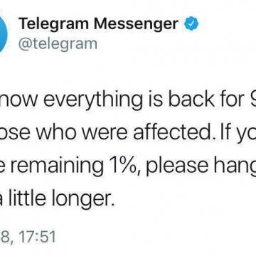 درصد وضعیت تلگرام به حالت قبل برگشت