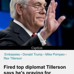 تيلرسون پس از بركناری از وزارت خارجه امريكا: برای آمريكا دعا میكند!