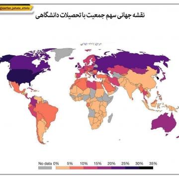 نقشه جهانی سهم جمعیت با تحصیلات دانشگاهی