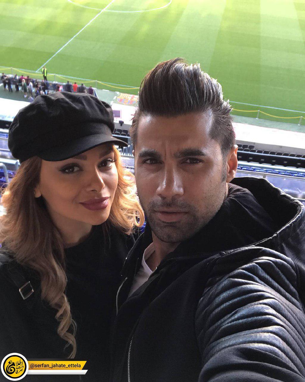 محسن فروزان و همسرش نسیم نهالی در ورزشگاه نیوکمپ بارسلون