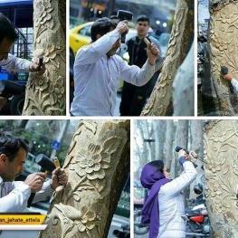 درختان خشک خیابان ولیعصر در آستانه نوروز جامه نو به تن کردند