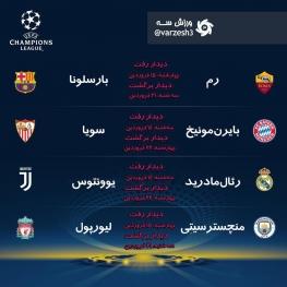 تقویم بازیهای مرحله یک چهارم نهایی لیگ قهرمانان اروپا ۲۰۱۸