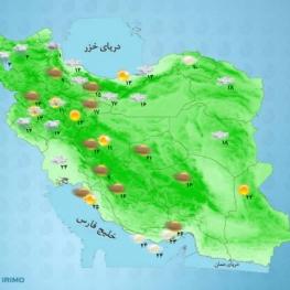 آسمان تهران،امروز ابری همراه با وزش باد در بعضی ساعات رگبار و رعد و برق