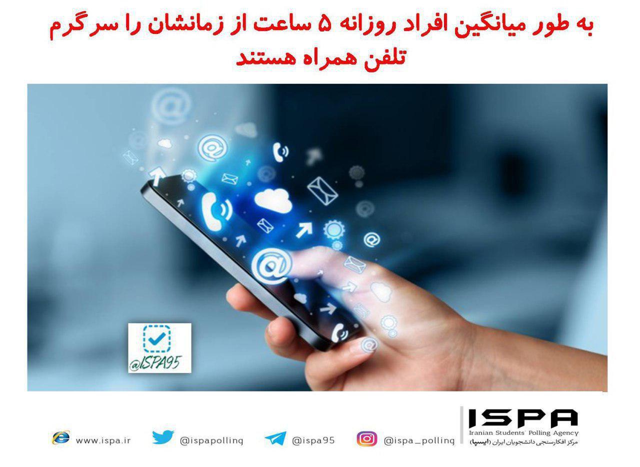 افراد روزانه ۵ ساعت از زمانشان را سرگرم تلفن همراه هستند.