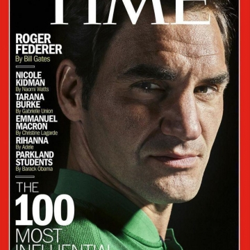 راجر فدرر به عنوان یکی از صد شخصیت پرنفوذ جهان روی جلد تایم رفته