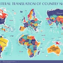 نقشه جهان بر اساس معنی لغوی کشورها.