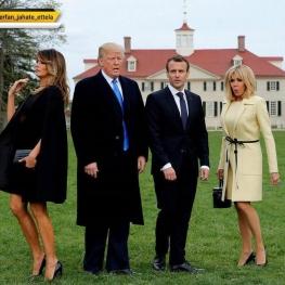 از عکسهای سوژه کپشن شده سفر رییسجمهور فرانسه به آمریکا