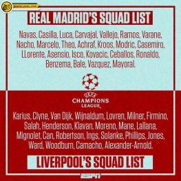 لیست بازیکنان دو تیم لیورپول و رئالمادرید برای فینال جام باشگاههای اروپا