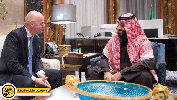 محمدبنسلمان (ولیعهد سعودی) با جاننی اینفانتینو، رئیس فیفا در جده دیدار کرد.