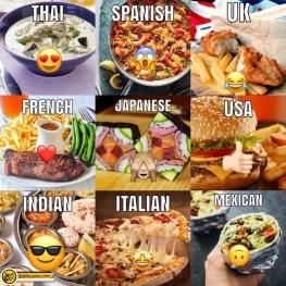غذاهای محبوب کشورهای مختلف