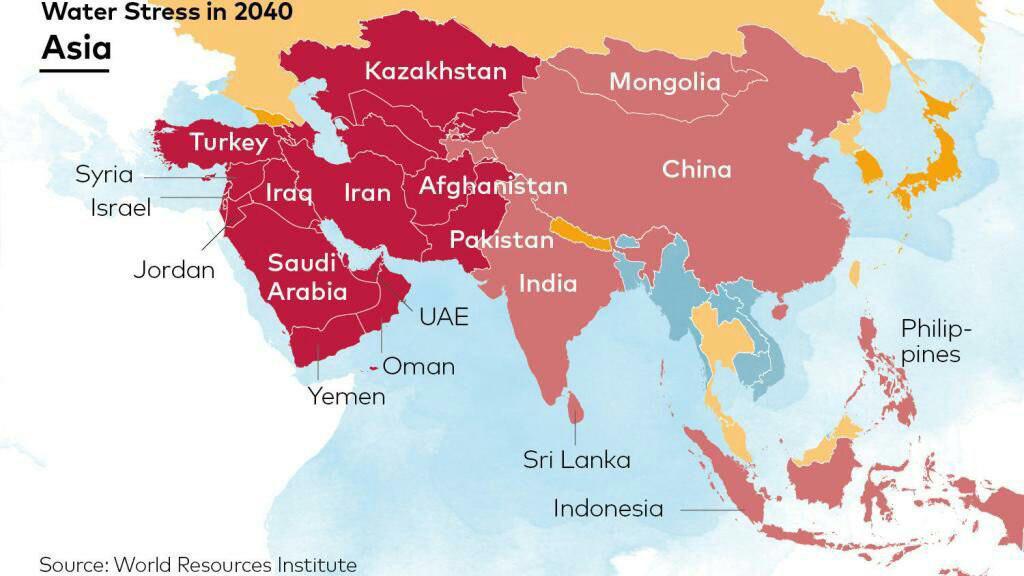 پیش بینی میزان درگیر شدن کشورهای مختلف آسیایی با تنش آبی در سال ۲۰۴۰