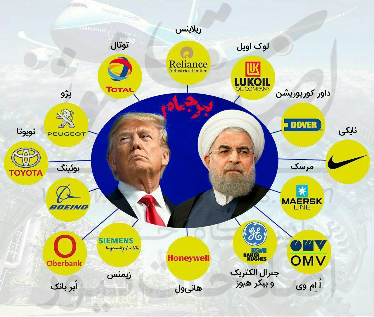 شرکتهایی که پس از تهدید ترامپ قراردادهای خود با ایران را لغو و یا ایران را تحریم کردند