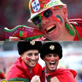 هواداران پرتغال و مراکش پیش از شروع بازی