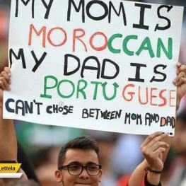 تصویری جالب از هواداری که مادری مراکشی و پدری پرتغالی دارد.