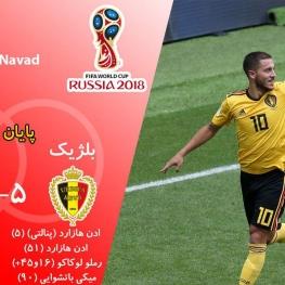 بلژیک در پرگل ترین بازی جام، تونس را در هم کوبید