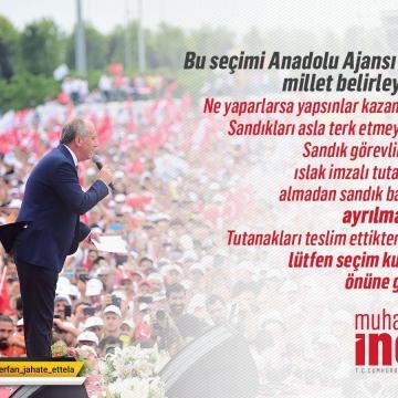 محرم اینچه نامزد انتخابات ترکیه نسبت به وقوع تقلب درانتخابات هشدار داد