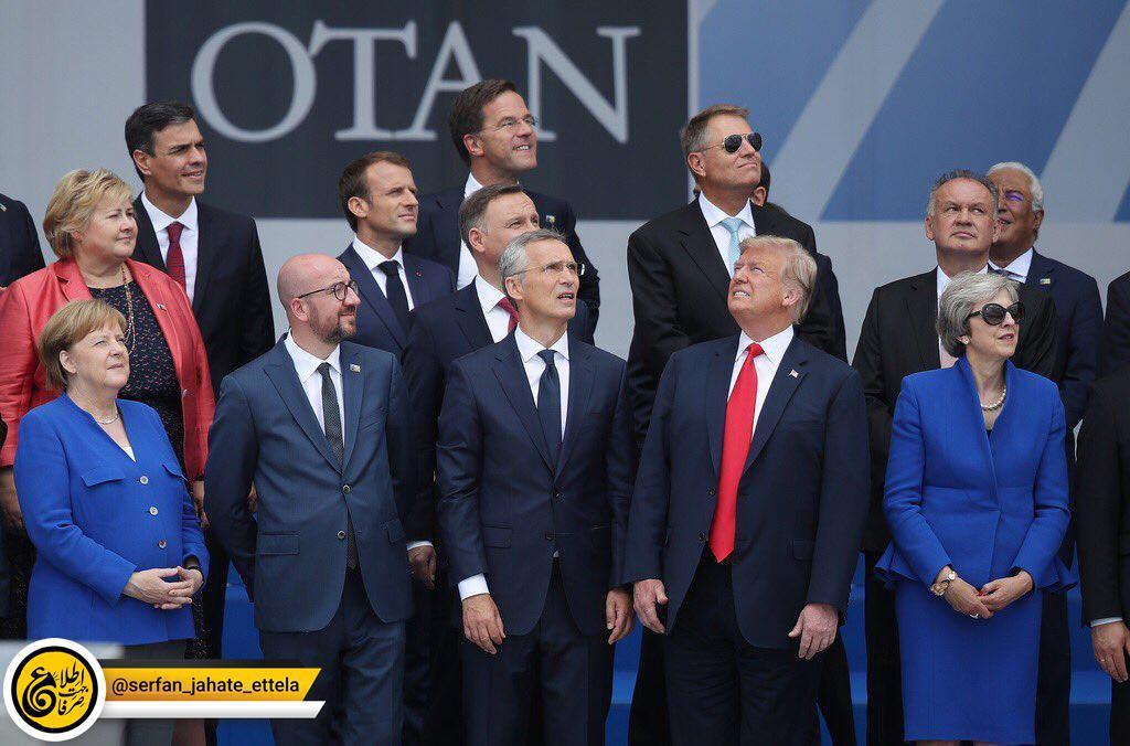 بروکسل؛ ژست خاص رئیس جمهور آمریکا در مقابل سران ناتو