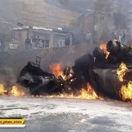 فرمانده قرارگاه پلیس راه هرمزگان: انفجار تانکر حمل سوخت در جاده بندرعباس – میناب دو کشته بر جای گذاشت