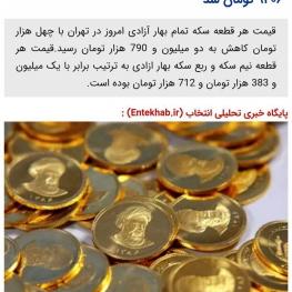 قیمت سکه تمام بهار آزادی؛۲.۷۹۰.۰۰۰ تومان
