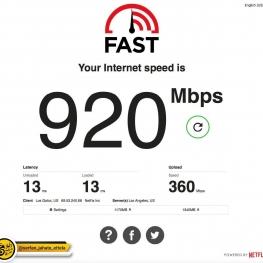 وب سایت Fast.com حالا سرعت اپلود و تاخیر (Latency) رو هم نشون میده.