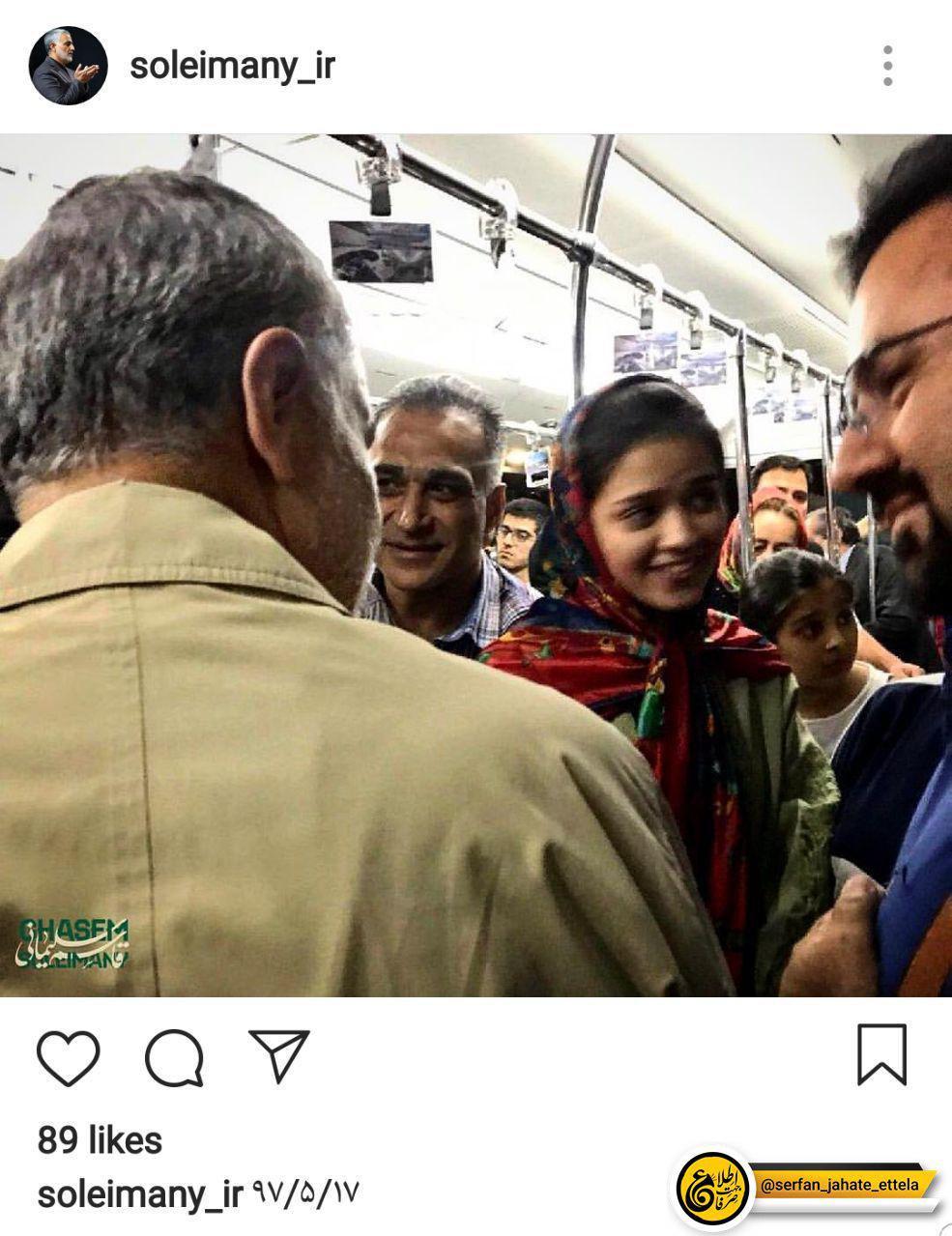 سردار سلیمانی تصویر اخیر ایشان در اتوبوس عمومی فرودگاه در حال گفتگو با مردم